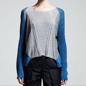 Helmut Lang Sweaters - Helmut Lang Top asymmetrical blue & gray Sweater